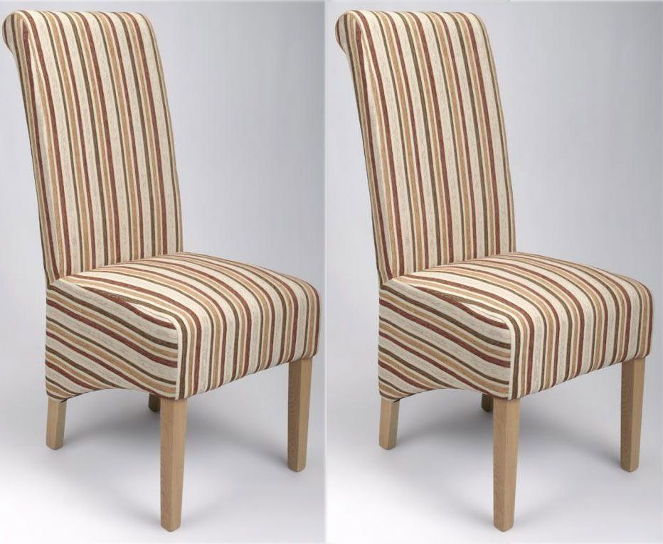 Country roll back upholstered dining country roll back for Striped upholstered dining chairs