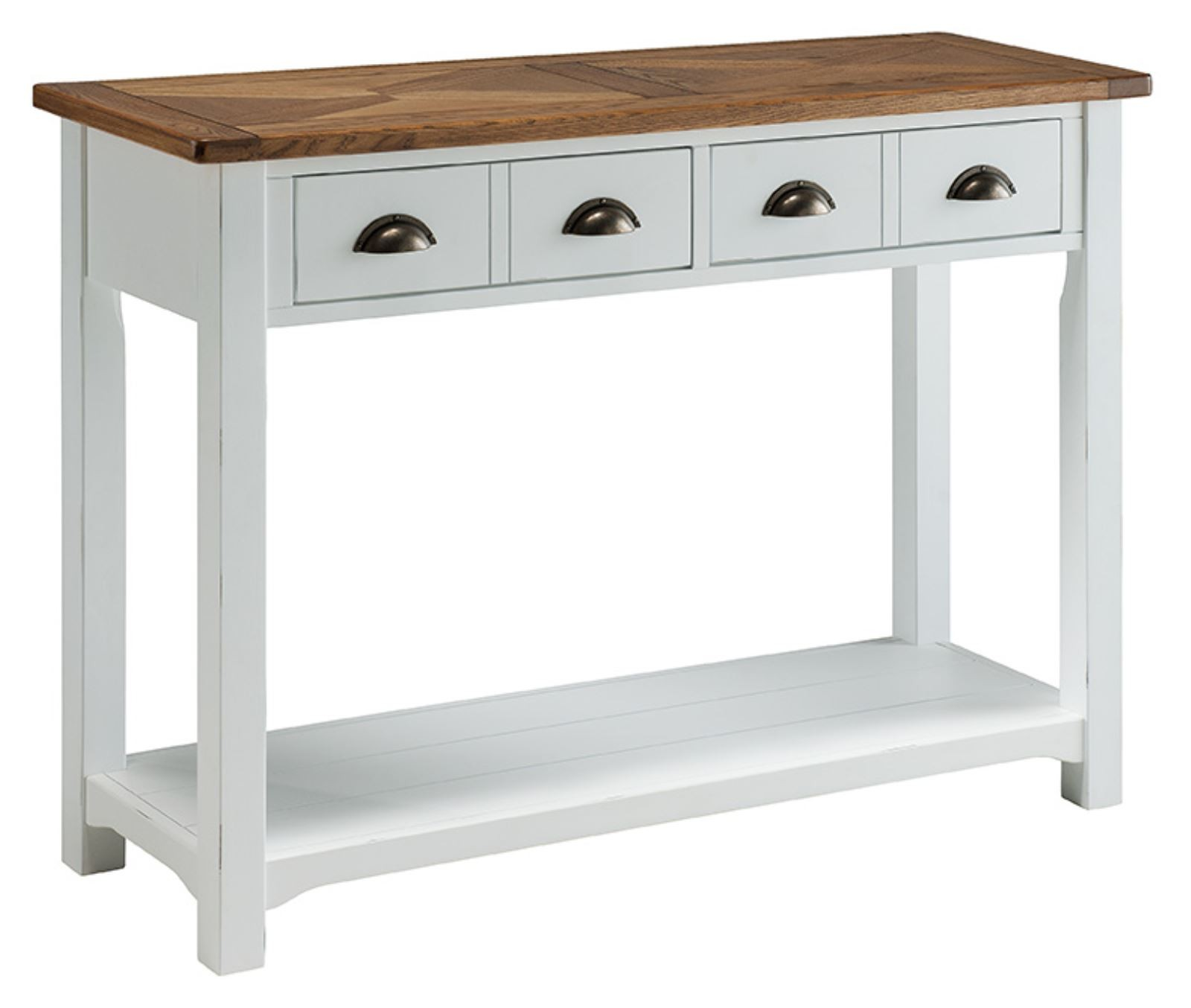 Porto painted white reclaimed pine chunky style console table